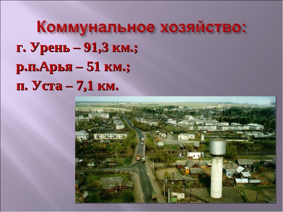 г. Урень – 91,3 км.; р.п.Арья – 51 км.; п. Уста – 7,1 км.