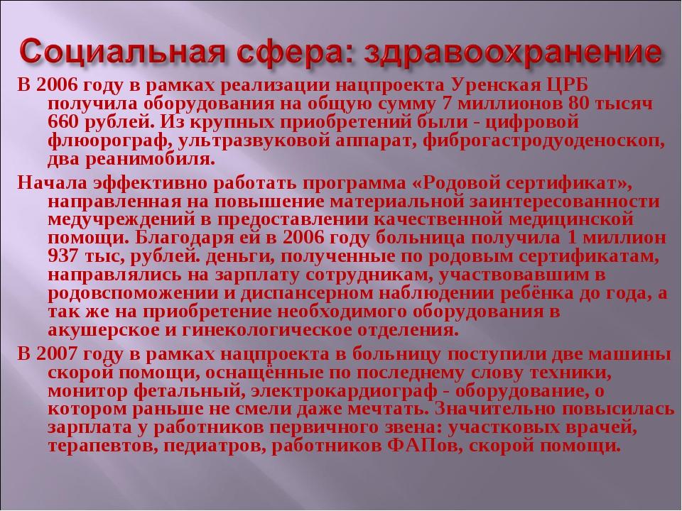 В 2006 году в рамках реализации нацпроекта Уренская ЦРБ получила оборудования...