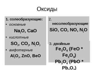 Оксиды 1. солеобразующие: основные Na2O, CaO кислотные SO3, CO2, N2O3 амфотер