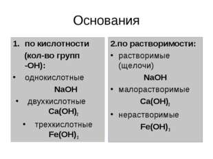 Основания по кислотности (кол-во групп -ОН): однокислотные NaOH двухкислотные