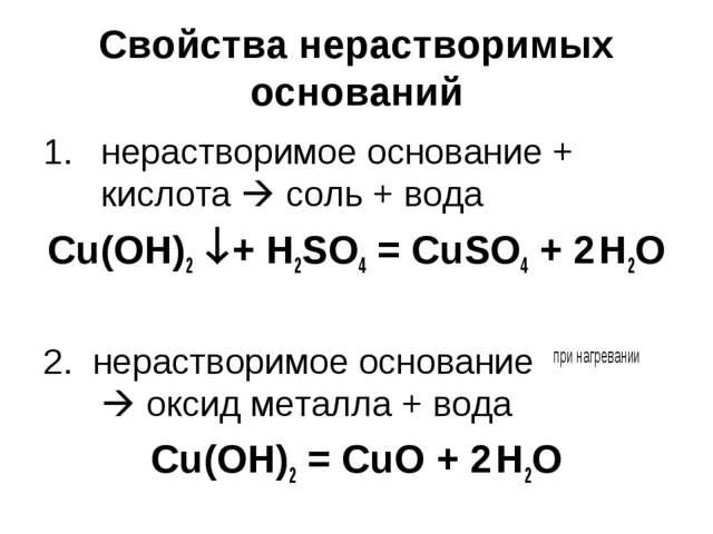 Свойства нерастворимых оснований нерастворимое основание + кислота  соль + в...
