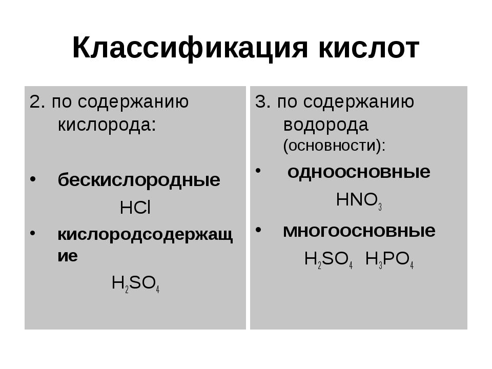 Классификация кислот 2. по содержанию кислорода: бескислородные HCl кислородс...