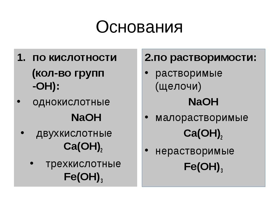 Основания по кислотности (кол-во групп -ОН): однокислотные NaOH двухкислотные...