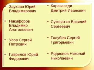 Каракасиди Дмитрий Иванович Суковатин Василий Сергеевич Голубев Сергей Григор