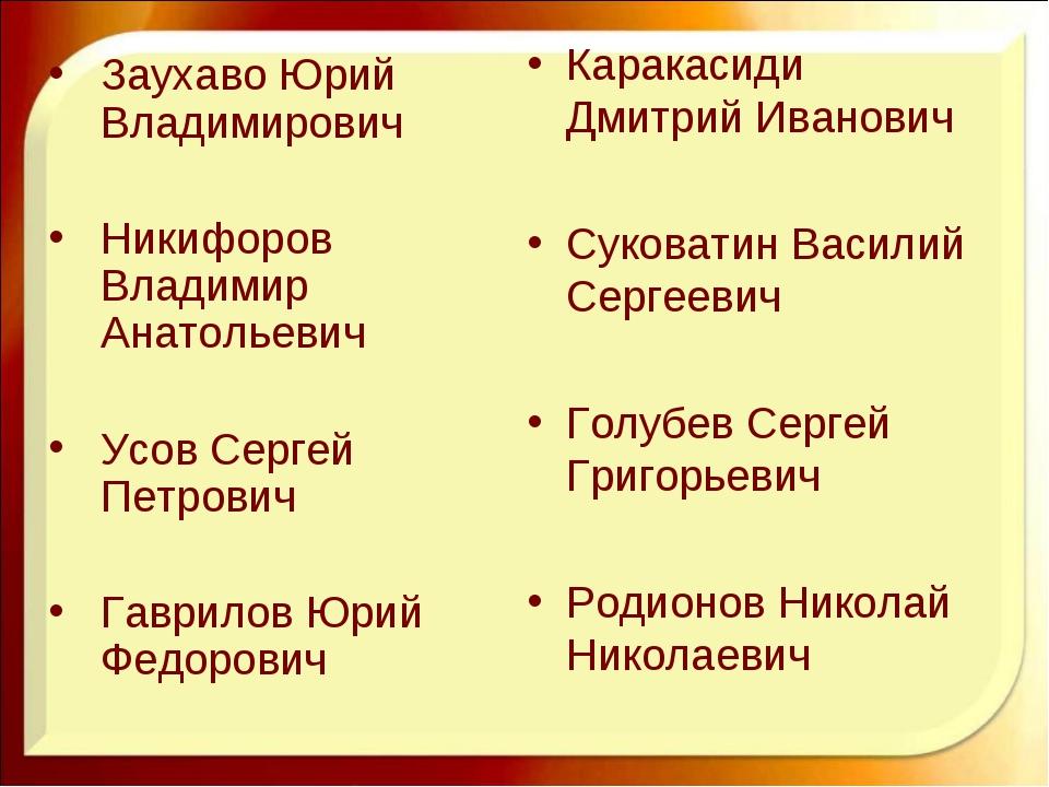 Каракасиди Дмитрий Иванович Суковатин Василий Сергеевич Голубев Сергей Григор...