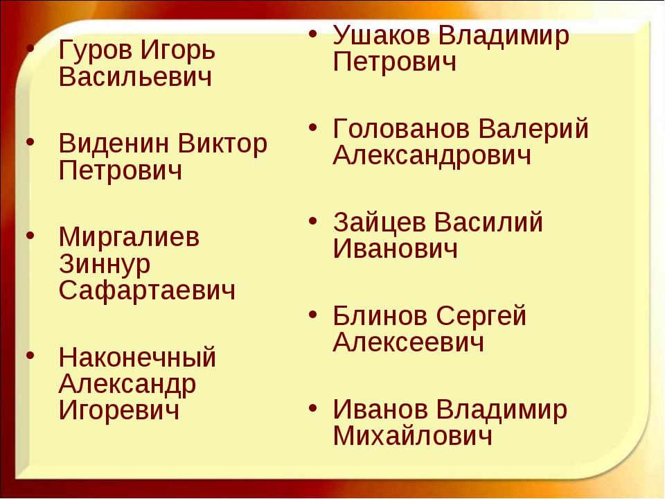Ушаков Владимир Петрович Голованов Валерий Александрович Зайцев Василий Ивано...