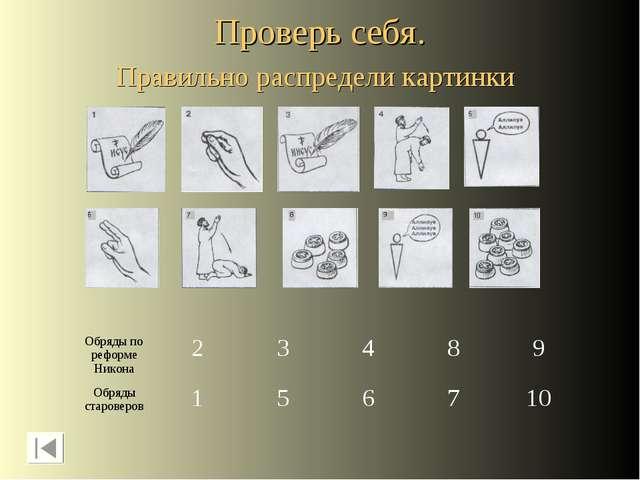 Проверь себя. Правильно распредели картинки Обряды по реформе Никона Обряды с...