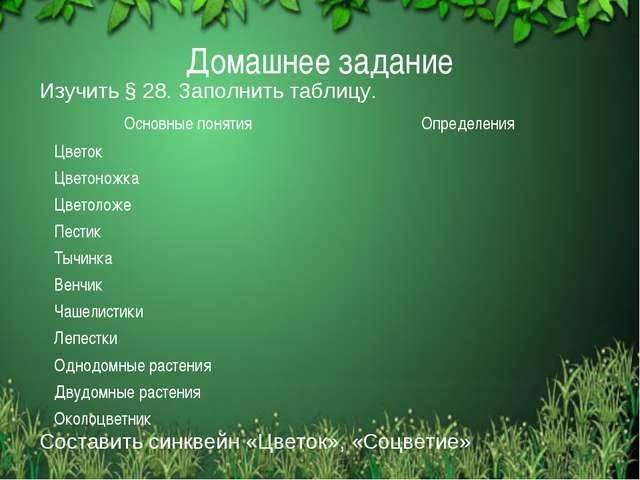 Домашнее задание Изучить § 28. Заполнить таблицу. Составить синквейн «Цветок»...
