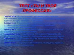 ТЕСТ «ТЫ И ТВОЯ ПРОФЕССИЯ» Первый тип: 6-8 треугольников - тип руководителя,