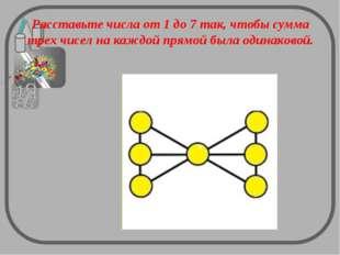 Расставьте числа от 1 до 7 так, чтобы сумма трех чисел на каждой прямой была