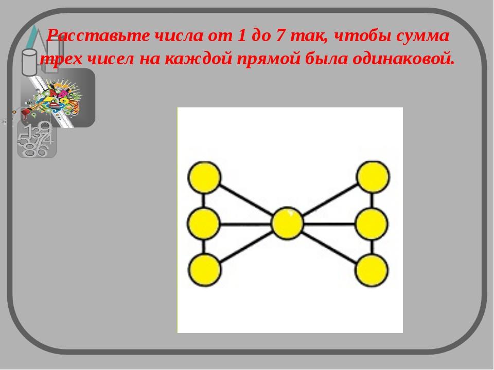 Расставьте числа от 1 до 7 так, чтобы сумма трех чисел на каждой прямой была...