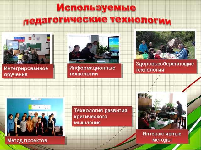Интегрированное обучение Метод проектов Здоровьесберегающие технологии Информ...