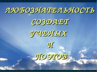 ЛЮБОЗНАТЕЛЬНОСТЬ СОЗДАЕТ УЧЕНЫХ И ПОЭТОВ