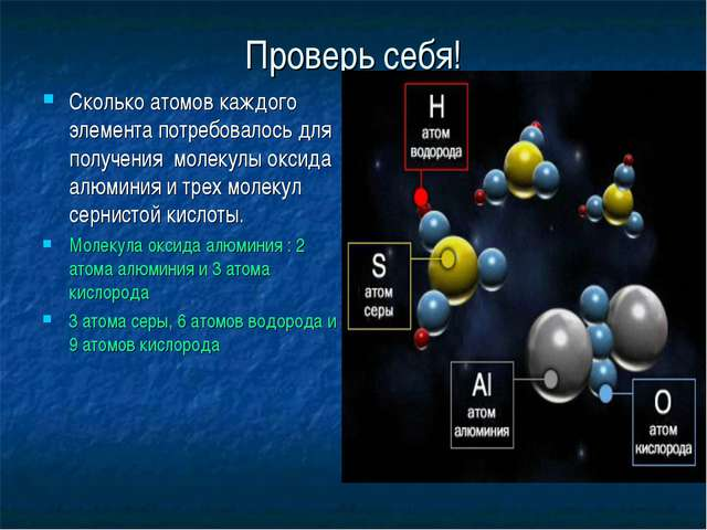 Проверь себя! Сколько атомов каждого элемента потребовалось для получения мол...