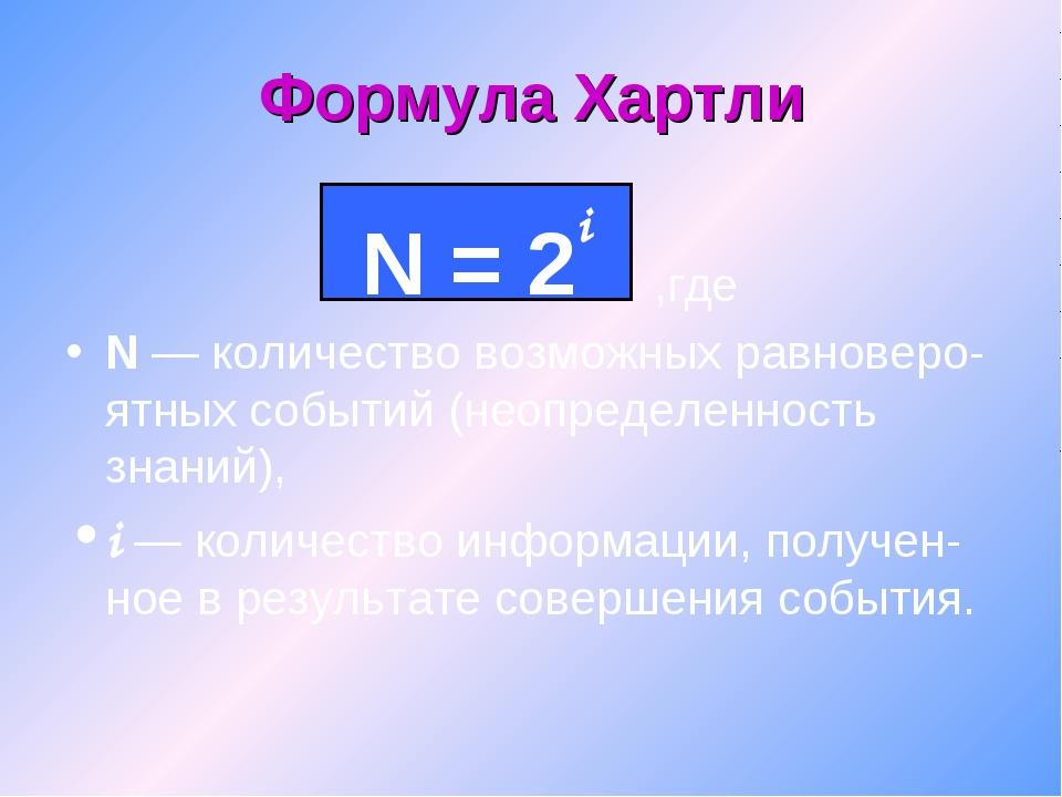 Формула Хартли ,где N — количество возможных равноверо-ятных событий (неопред...