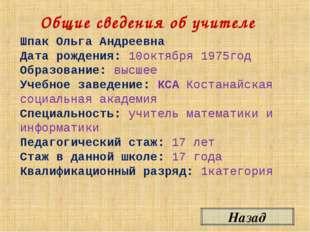 Общие сведения об учителе Назад Шпак Ольга Андреевна Дата рождения: 10октября