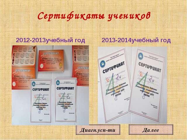 Далее Диагн.усп-ти Сертификаты учеников 2012-2013учебный год 2013-2014учебный...