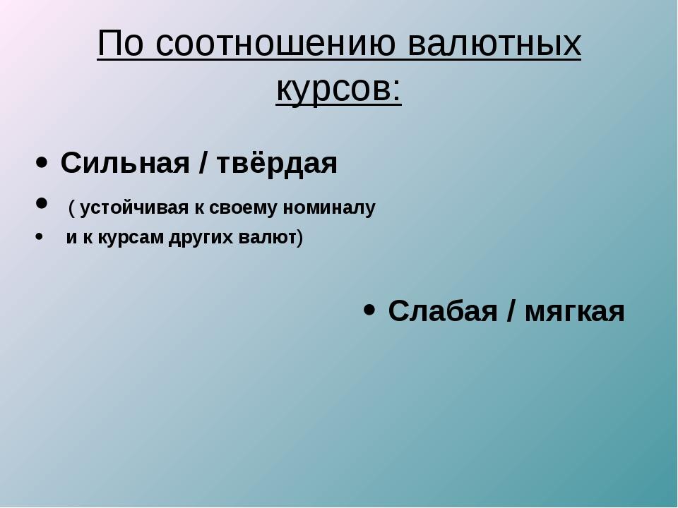 По соотношению валютных курсов: Слабая / мягкая Сильная / твёрдая ( устойчива...