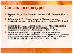 Список литературы Буровик К. А. Родословная вещей. – М.: Знание. 1991, - 232
