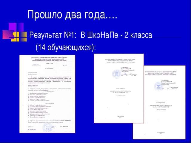 Прошло два года…. Результат №1: В ШкоНаПе - 2 класса (14 обучающихся):