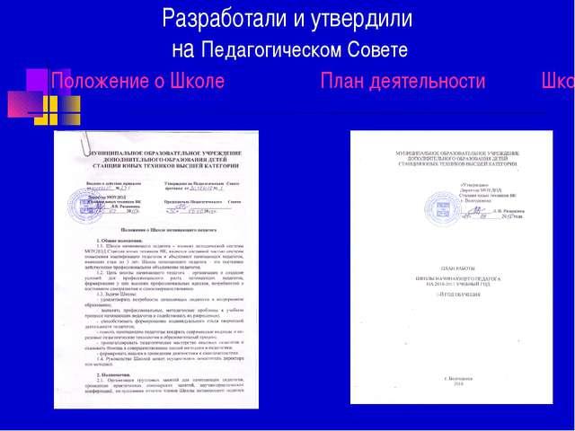 Разработали и утвердили на Педагогическом Совете Положение о Школе План деяте...