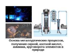 Основа металлургических процессов, получения серной, азотной кислот, аммиака,