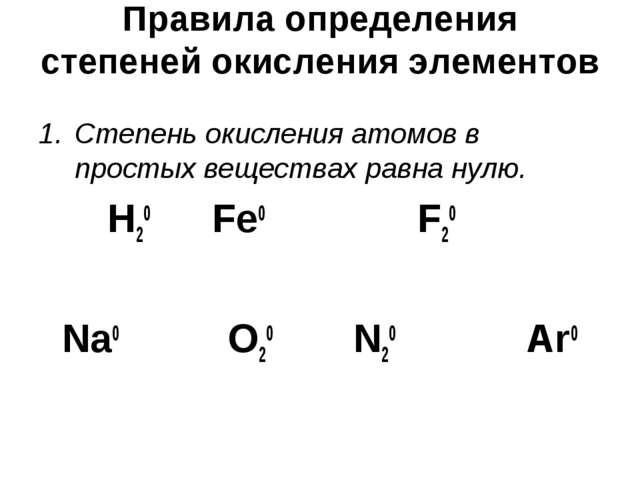 Правила определения степеней окисления элементов Степень окисления атомов в...