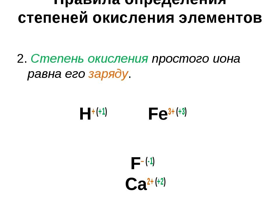 Правила определения степеней окисления элементов 2. Степень окисления простог...