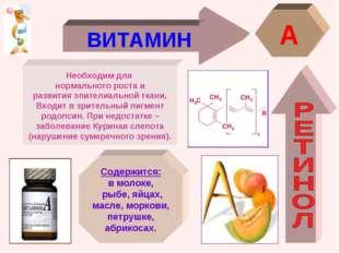 ВИТАМИН A Необходим для нормального роста и развития эпителиальной ткани. Вхо