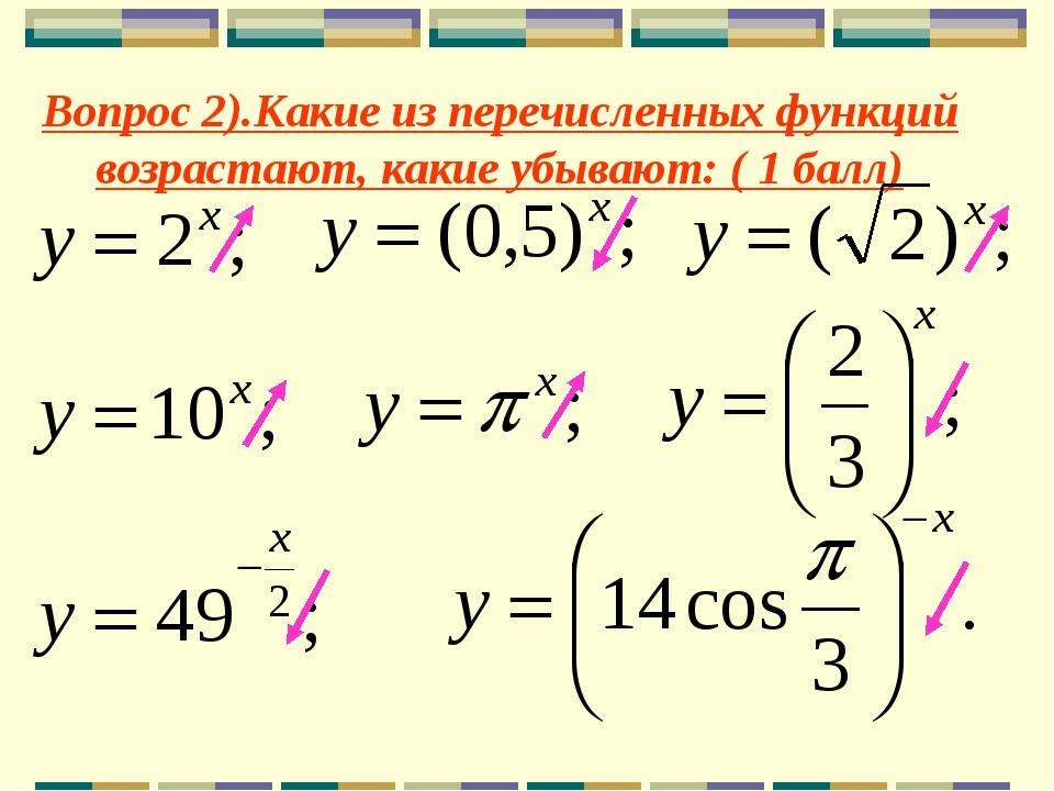 Вопрос 2).Какие из перечисленных функций возрастают, какие убывают: ( 1 балл)