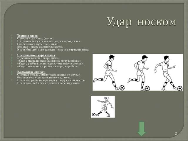Техника удара Отвести ногу назад (замах). Направить ногу носком вперед, в сто...