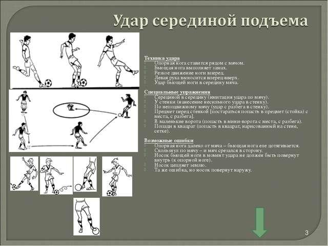 Техника удара Опорная нога ставится рядом с мячом. Бьющая нога выполняет зама...