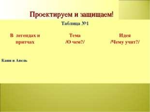 Проектируем и защищаем! Таблица №1 В легендах и притчахТема /О чем?/ Идея