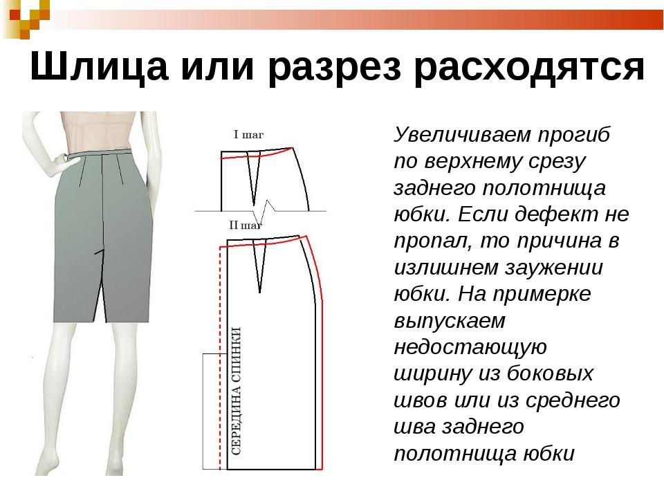 Как сшить юбку разрез сзади