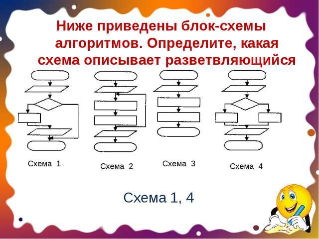 Ниже приведены блок-схемы алгоритмов. Определите, какая схема описывает разве...