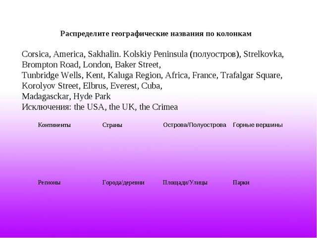 Распределите географические названия по колонкам Corsica, America, Sakhalin....