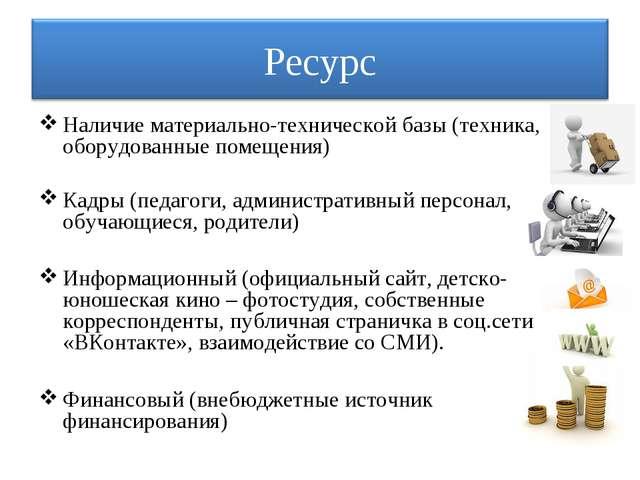Наличие материально-технической базы (техника, оборудованные помещения) Кадры...