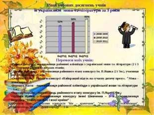 Рівні учбових досягнень учнів із української мови та літератури за 3 роки Пер
