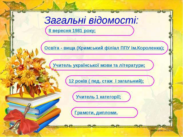 Загальні відомості: Учитель 1 категорії; 12 років ( пед. стаж і загальний);...
