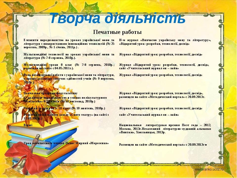 Творча діяльність Печатные работы Елементи народознавства на уроках українсь...
