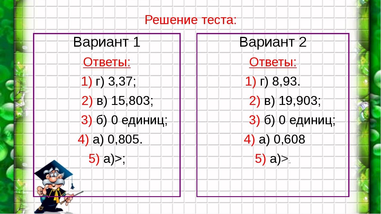 Вариант 1 Вариант 1 Ответы:  1) г) 3,37;       2) в) 15,803;           3...