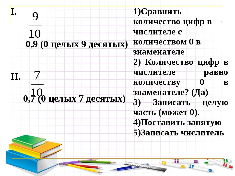 I. 0,9 (0 целых 9 десятых) II. 0,7 (0 целых 7 десятых) 1)Сравнить количество...