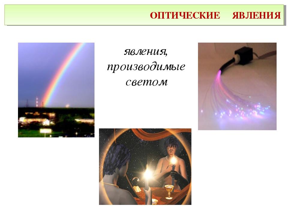 ОПТИЧЕСКИЕ ЯВЛЕНИЯ явления, производимые светом
