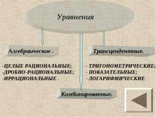 Уравнения -ЦЕЛЫЕ РАЦИОНАЛЬНЫЕ; -ДРОБНО-РАЦИОНАЛЬНЫЕ; -ИРРАЦИОНАЛЬНЫЕ . - ТРИГ