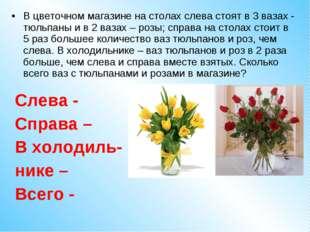 В цветочном магазине на столах слева стоят в 3 вазах - тюльпаны и в 2 вазах –
