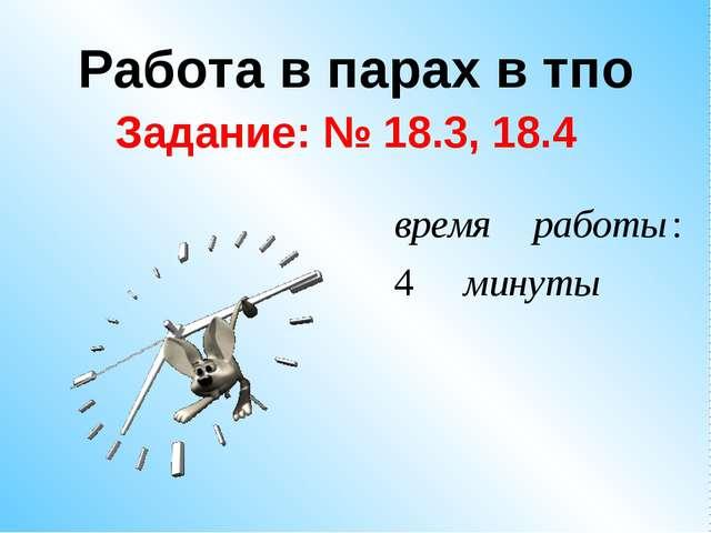 Работа в парах в тпо Задание: № 18.3, 18.4