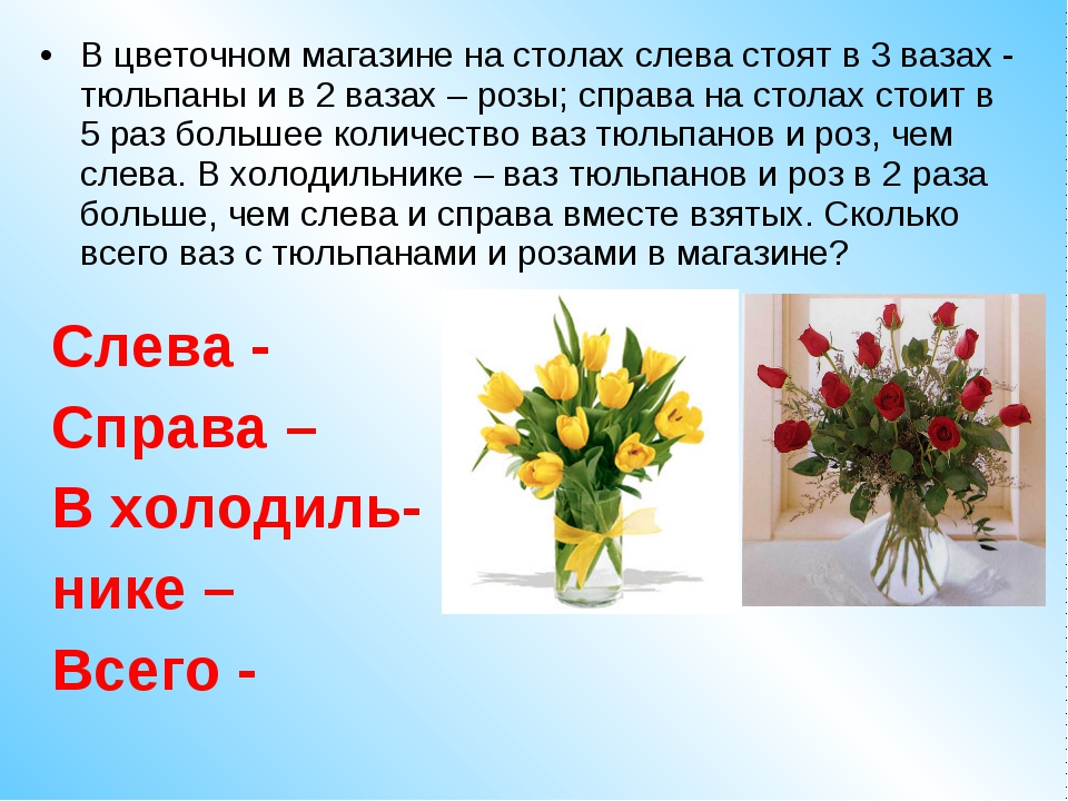 В цветочном магазине на столах слева стоят в 3 вазах - тюльпаны и в 2 вазах –...