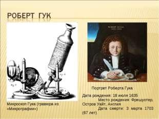 Микроскоп Гука (гравюра из «Микрографии») Дата рождения: 18 июля 1635 Место