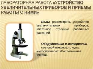 Цель: рассмотреть устройство увеличительных приборов, клеточное строение разл