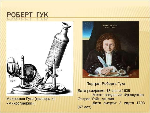 Микроскоп Гука (гравюра из «Микрографии») Дата рождения: 18 июля 1635 Место...